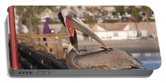 Pelican Sitting On Pier  Portable Battery Charger