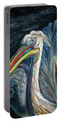 Portable Battery Charger featuring the painting Pelican by Xueling Zou