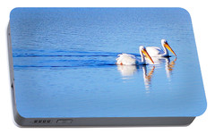 Portable Battery Charger featuring the photograph Pelicans On The Bay by AJ  Schibig