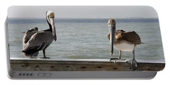 Pelicans On The Pier At Fort Myers Beach In Florida Portable Battery Charger