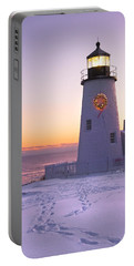 Pemaquid Point Lighthouse Christmas Snow Wreath Maine Portable Battery Charger by Keith Webber Jr
