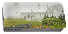 Pemaquid Point Lighthouse In Fog Maine Prints Portable Battery Charger by Keith Webber Jr