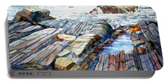 Portable Battery Charger featuring the painting Pemaquid Rocks by Roger Rockefeller