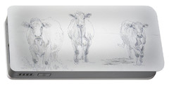 Pencil Drawing Of Three Cows Portable Battery Charger