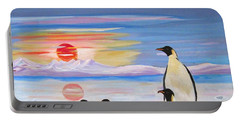 Penguin Family Portable Battery Charger by Phyllis Kaltenbach