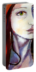 Portable Battery Charger featuring the painting Pensive Lady by Helena Wierzbicki