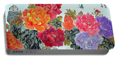 Portable Battery Charger featuring the photograph Peonies And Birds by Yufeng Wang