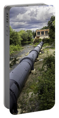 Portable Battery Charger featuring the photograph Pepperell Hydro Station - Penstock by Betty Denise