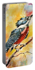 Portable Battery Charger featuring the painting Perched Kingfisher by Al Brown