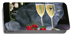 Portable Battery Charger featuring the painting Perrier Jouet Et Le Chat by Karen Zuk Rosenblatt
