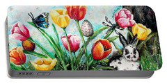 Portable Battery Charger featuring the painting Peters Easter Garden by Shana Rowe Jackson