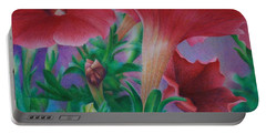 Petunia Skies Portable Battery Charger by Pamela Clements