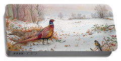 Pheasant And Bramblefinch In The Snow Portable Battery Charger by Carl Donner