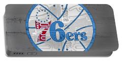 Philadelphia 76ers Basketball Team Retro Logo Vintage Recycled Pennsylvania License Plate Art Portable Battery Charger