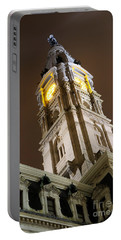 Philadelphia City Hall Clock Tower At Night Portable Battery Charger