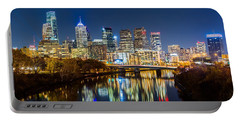 Philadelphia Cityscape Panorama By Night Portable Battery Charger by Mihai Andritoiu