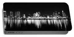 Philadelphia Skyline Panorama In Black And White Portable Battery Charger by Bill Cannon