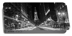 Philadephia City Hall -- Black And White Portable Battery Charger
