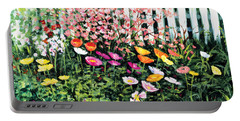 Portable Battery Charger featuring the painting Pickets N' Poppies by Lynn Buettner