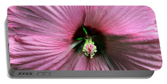 Pie Plate Hibiscus Portable Battery Charger by Nina Silver