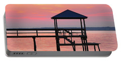 Pier In Pink Sunset Portable Battery Charger