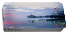 Pier With A Ferris Wheel, Santa Monica Portable Battery Charger by Panoramic Images