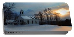 Piermont Church In Winter Light Portable Battery Charger by Nancy Griswold
