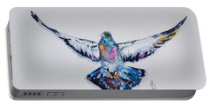 Pigeon In Flight Portable Battery Charger by Beverley Harper Tinsley