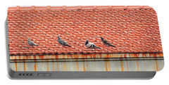 Portable Battery Charger featuring the photograph Pigeons On Roof by Aaron Martens