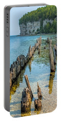 Pilings On Lake Michigan Portable Battery Charger by Paul Freidlund