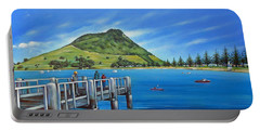 Portable Battery Charger featuring the painting Pilot Bay Mt Maunganui 201214 by Selena Boron