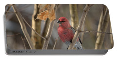 Portable Battery Charger featuring the photograph Pine Grosbeak by David Porteus