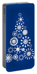 Pine Tree Snowflakes - Dark Blue Portable Battery Charger