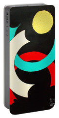 Portable Battery Charger featuring the painting Pineapple Moon by Roberto Prusso