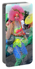 Portable Battery Charger featuring the photograph Pink Afro by Ed Weidman