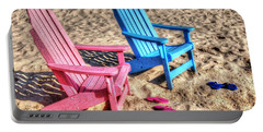 Pink And Blue Beach Chairs With Matching Flip Flops Portable Battery Charger