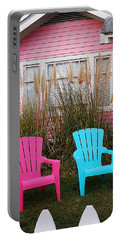 Pink And Blue Chairs By Jan Marvin Portable Battery Charger