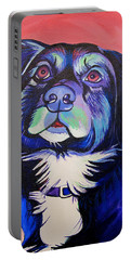 Portable Battery Charger featuring the painting Pink And Blue Dog by Joshua Morton