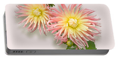 Pink And Cream Cactus Dahlia Portable Battery Charger
