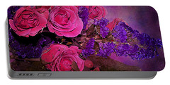 Pink And Purple Floral Bouquet Portable Battery Charger