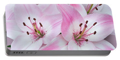 Pink And White Lilies Portable Battery Charger by Jane McIlroy