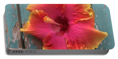 Tropical Pink And Yellow Hibiscus  Portable Battery Charger