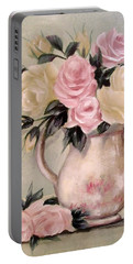 Pink And Yellow Roses In Teapot Painting Portable Battery Charger