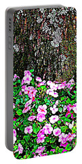 Portable Battery Charger featuring the photograph Pink Blooms In The Forest by Miriam Danar