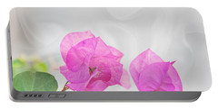 Pink Bougainvillea Flowers On White Silk Art Prints Portable Battery Charger