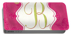 Pink Butterfly Monogram Portable Battery Charger