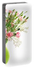 Pink Carnation Flowers Portable Battery Charger by Vizual Studio