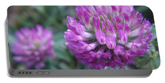 Portable Battery Charger featuring the photograph Pink Clovers by Sue Andrus