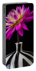 Pink Dahlia In Striped Vase Portable Battery Charger