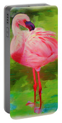 Portable Battery Charger featuring the painting Pink Flamingo by Deborah Boyd